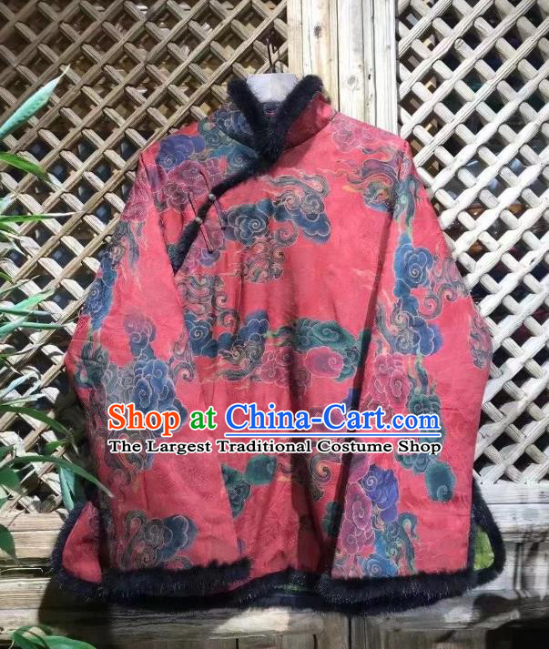 China Traditional Clouds Pattern Jacket National Outer Garment New Year Tang Suit Red Cotton Padded Coat