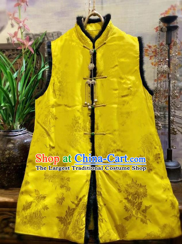 China Tang Suit Yellow Silk Waistcoat National Winter Chrysanthemum Pattern Vest Women Upper Outer Garment Clothing