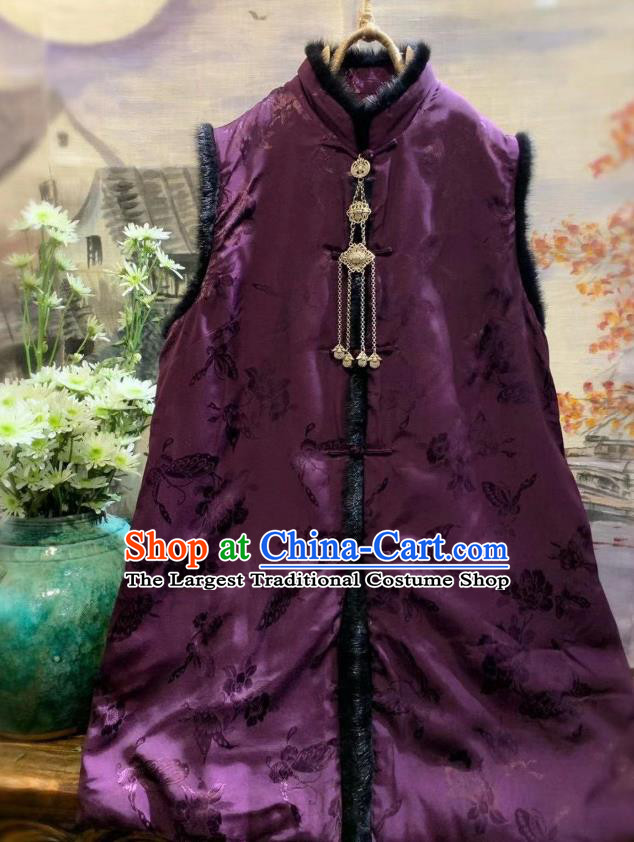 China Women Upper Outer Garment Clothing Tang Suit Deep Purple Waistcoat National Butterfly Pattern Vest