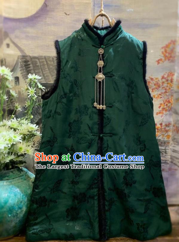 China Tang Suit Green Waistcoat National Butterfly Pattern Vest Women Upper Outer Garment Clothing