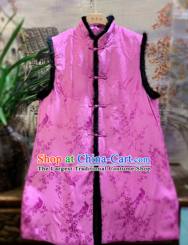 China Tang Suit Pink Waistcoat National Women Upper Outer Garment Clothing Plum Blossom Pattern Silk Vest