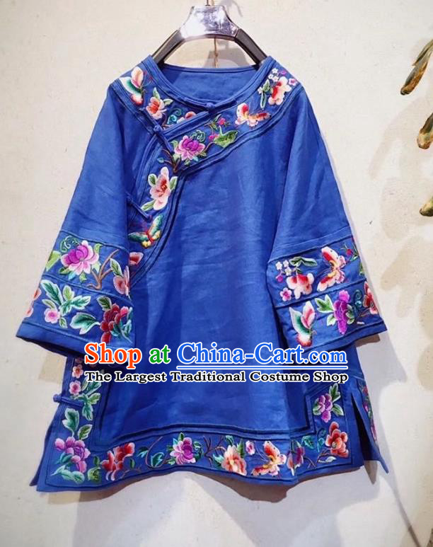 China Traditional Royalblue Flax Blouse Tang Suit Upper Outer Garment National Embroidered Shirt Clothing
