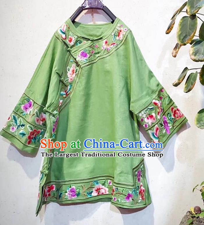 China Traditional Green Flax Blouse Tang Suit Shirt Clothing National Embroidered Upper Outer Garment