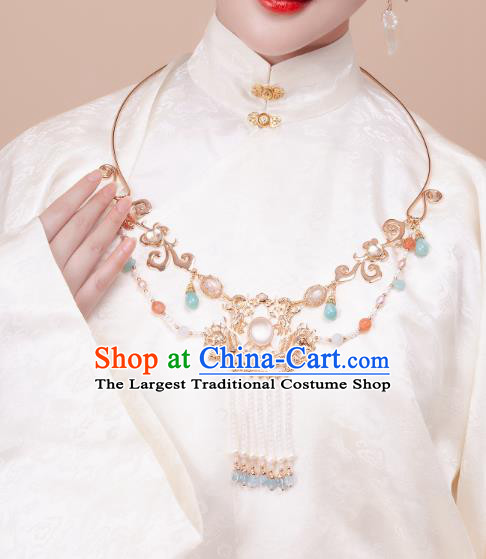 China Traditional Hanfu Beads Tassel Necklace Handmade Ancient Princess Golden Dragon Necklet Accessories