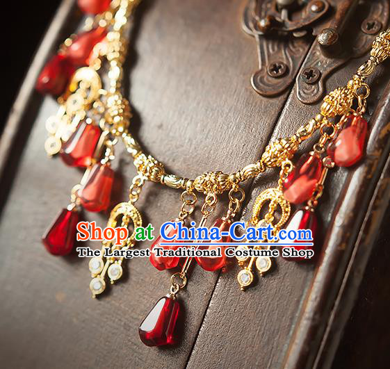 China Traditional Ming Dynasty Princess Tassel Necklace Accessories Handmade Golden Necklet Jewelry