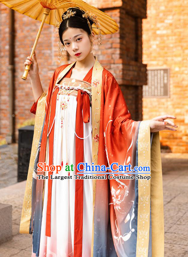 Traditional China Tang Dynasty Royal Princess Hanfu Dress Ancient Court Lady Historical Clothing