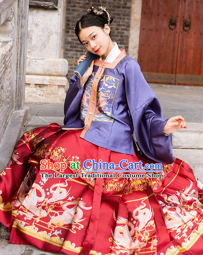 China Traditional Ming Dynasty Noble Woman Hanfu Apparels Ancient Patrician Mistress Historical Clothing Full Set