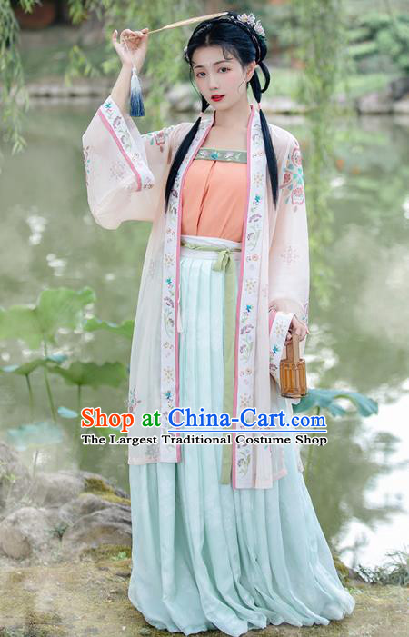 China Traditional Song Dynasty Historical Costumes Ancient Young Beauty Hanfu Dress Garment Complete Set