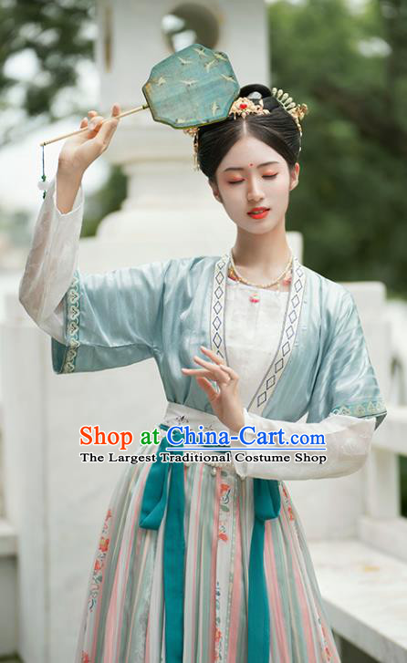 China Traditional Tang Dynasty Palace Lady Historical Costumes Ancient Court Maid Hanfu Dress Garment