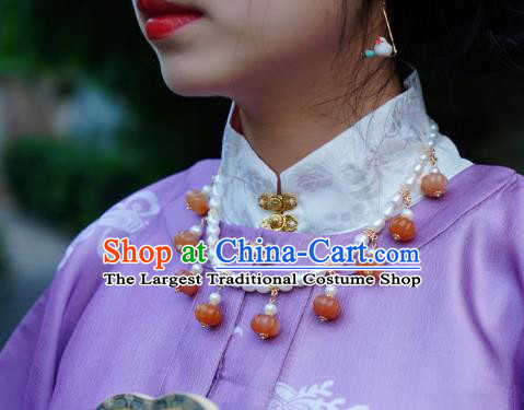 China Traditional Ming Dynasty Pearls Necklet Accessories Handmade Hanfu Agate Pumpkin Necklace