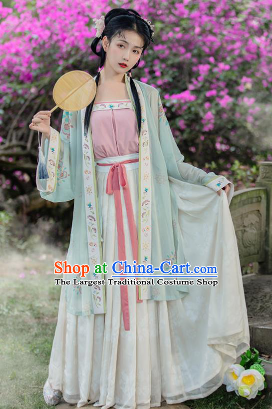 Traditional China Ancient Village Girl Hanfu Dress Garment Song Dynasty Young Lady Historical Costumes