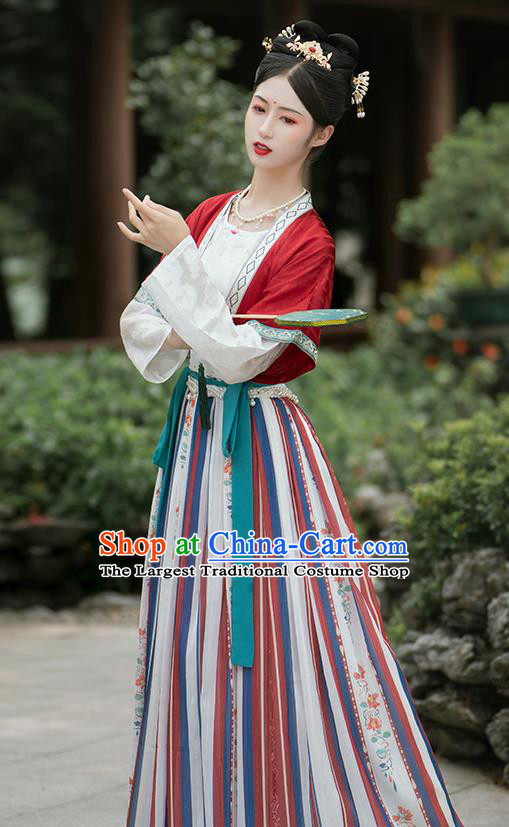 China Ancient Palace Lady Hanfu Dress Garment Traditional Tang Dynasty Court Beauty Historical Clothing Full Set