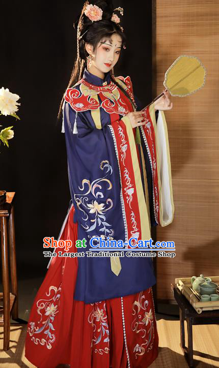 China Ancient Young Beauty Hanfu Dress Clothing Traditional Ming Dynasty Imperial Consort Historical Costumes