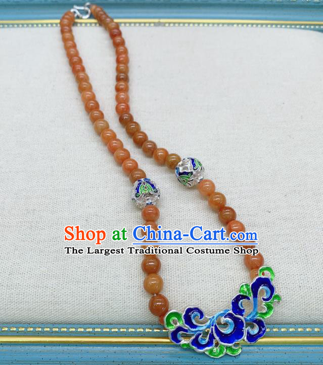 Handmade Chinese Agate Beads Necklace Accessories National Blueing Silver Necklet Pendant