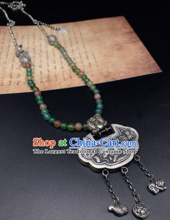 Handmade Chinese Jadeite Beads Necklace Accessories National Silver Lock Tassel Necklet Pendant