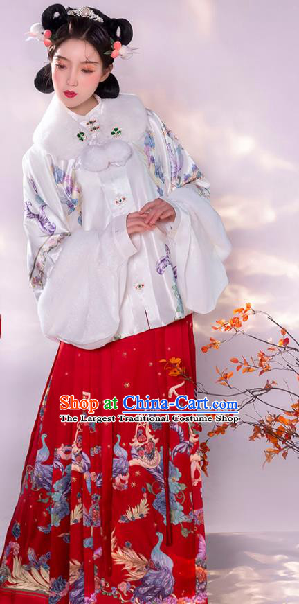 Traditional China Ming Dynasty Noble Lady Historical Clothing Ancient Young Beauty Hanfu Dress Apparels