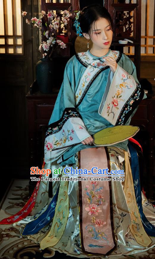 China Ancient Qing Dynasty Rich Beauty Historical Clothing Traditional Embroidered Costumes
