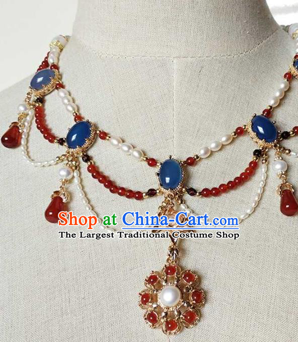 Chinese Traditional Hanfu Agate Necklace Accessories Classical Ming Dynasty Princess Pearls Necklet