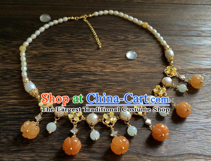 Chinese Traditional Hanfu Agate Pumpkin Necklace Accessories Classical Pearls Necklet Jewelry