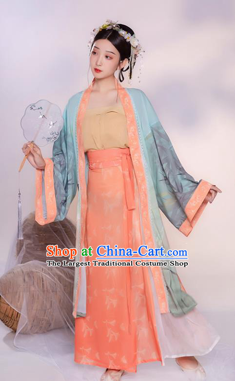 China Ancient Village Girl Hanfu Clothing Traditional Song Dynasty Young Lady Historical Costume Complete Set