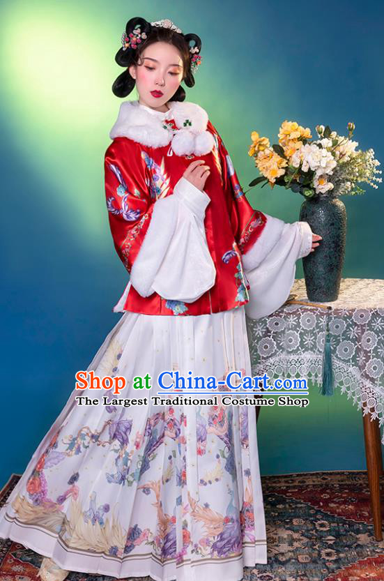 Traditional China Ming Dynasty Young Beauty Historical Clothing Ancient Noble Lady Hanfu Dress Apparels
