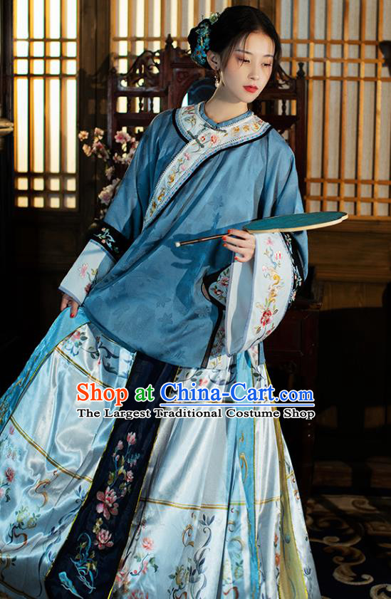 China Ancient Qing Dynasty Historical Clothing Traditional Rich Woman Costumes Full Set