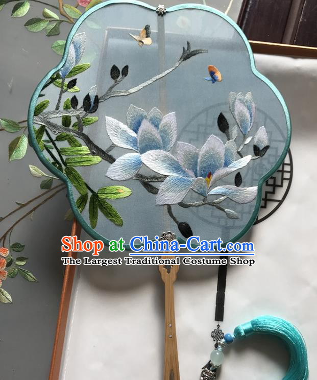 Chinese Handmade Embroidered Mangnolia Blue Silk Fan Traditional Ancient Princess Fan Classical Dance Palace Fan