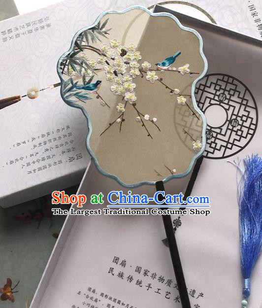 Chinese Traditional Embroidered Plum Blossom Silk Fan Classical Dance Fan Handmade Palace Fan