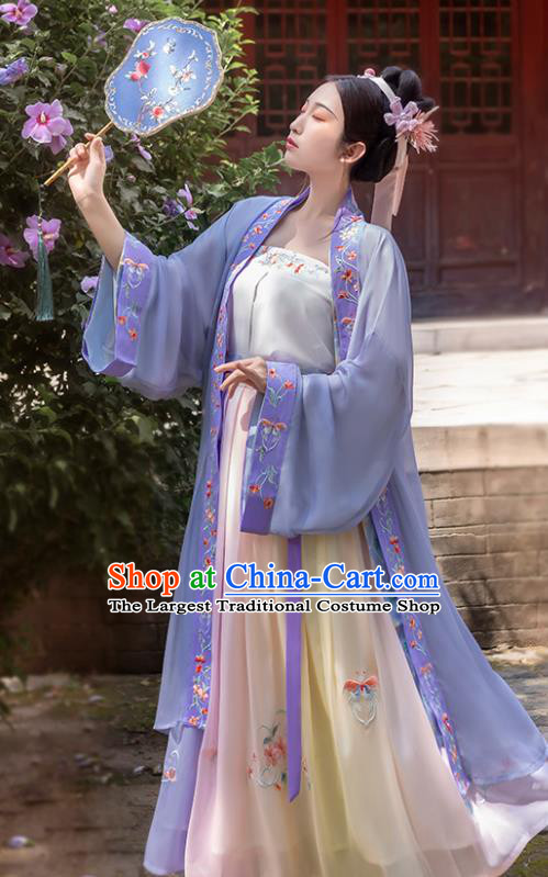 China Traditional Song Dynasty Imperial Consort Historical Costumes Ancient Court Beauty Hanfu Dress