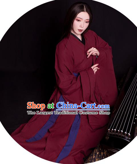 China Traditional Jin Dynasty Palace Lady Historical Clothing Ancient Young Beauty Wine Red Hanfu Robe