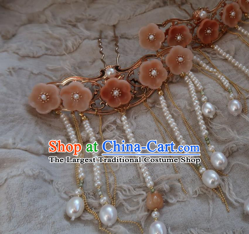 China Handmade Hanfu Pearls Tassel Hairpin Traditional Ancient Ming Dynasty Princess Pink Plum Blossom Hair Stick