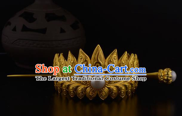 China Ancient Nobility Childe Hairpin Handmade Traditional Ming Dynasty Prince Golden Lotus Hairdo Crown