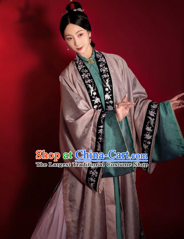 China Ancient Patrician Female Clothing Traditional Hanfu Apparels Song Dynasty Noble Woman Historical Costumes
