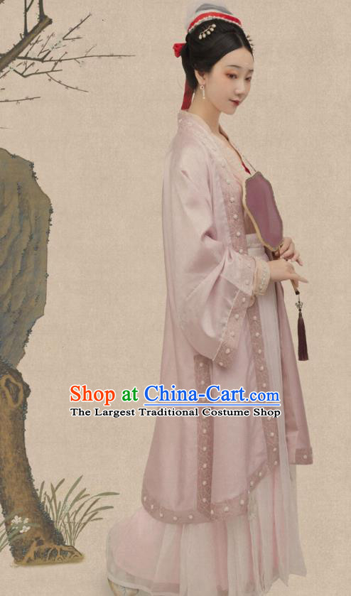 Traditional China Song Dynasty Court Lady Historical Costumes Ancient Imperial Consort Hanfu Clothing Complete Set