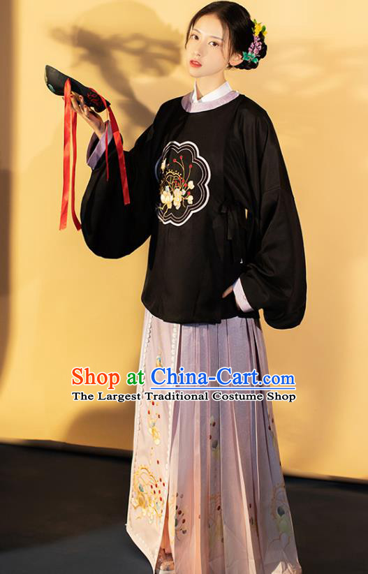 Traditional China Ming Dynasty Young Lady Historical Costumes Ancient Civilian Girl Hanfu Clothing