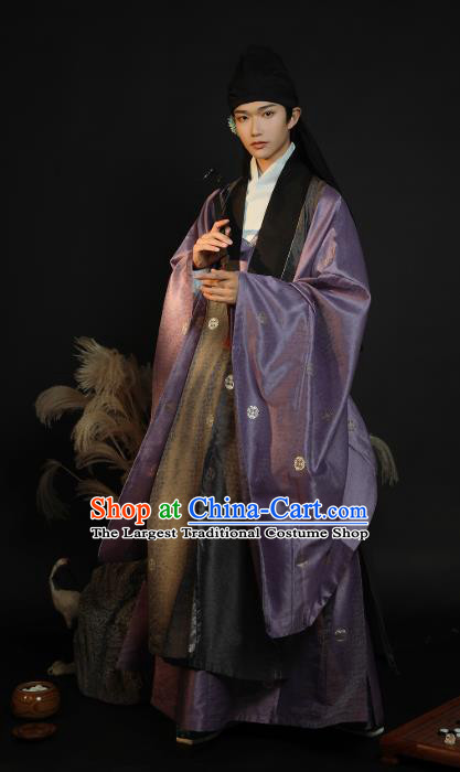 China Ancient Noble Childe Hanfu Clothing Traditional Ming Dynasty Male Historical Costume Full Set