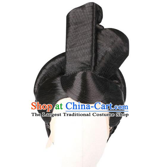 Handmade Chinese Ancient Imperial Consort Wig Sheath Traditional Warring States Period Court Beauty Wigs Chignon Headwear
