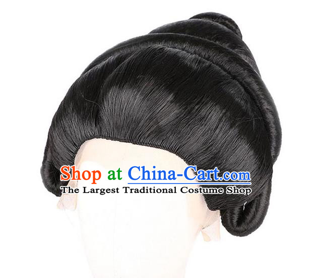 Handmade Chinese Ancient Court Woman Wig Sheath Headwear Traditional Tang Dynasty Imperial Consort Wigs Chignon