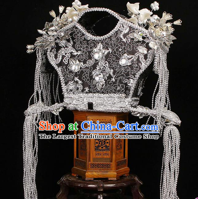 China Traditional Warring States Period Queen Hair Accessories Ancient Empress White Phoenix Coronet Headwear