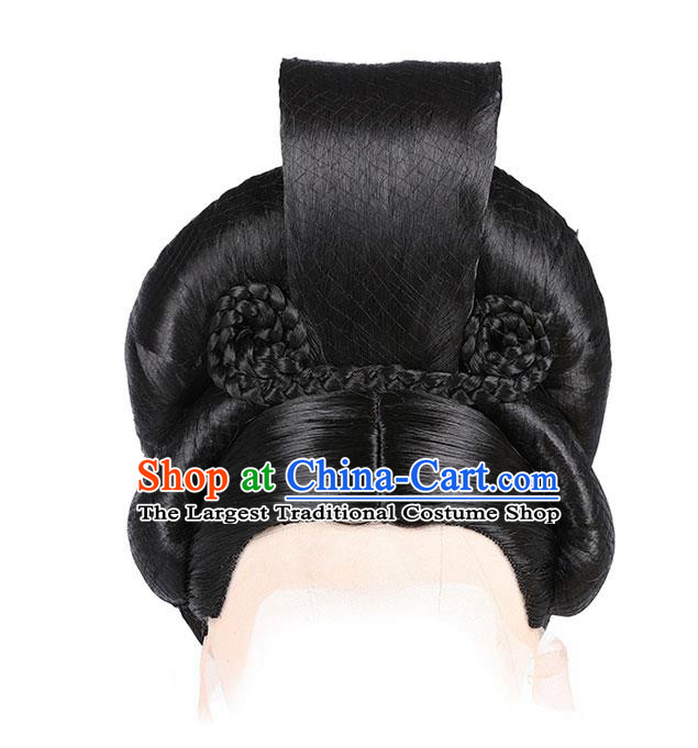Chinese Ancient Imperial Consort Wig Sheath Traditional Tang Dynasty Court Woman Wigs Chignon Headdress