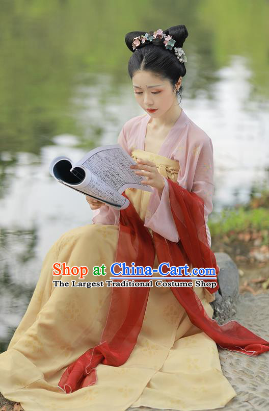 China Ancient Village Girl Hanfu Clothing Traditional Tang Dynasty Young Beauty Historical Costume