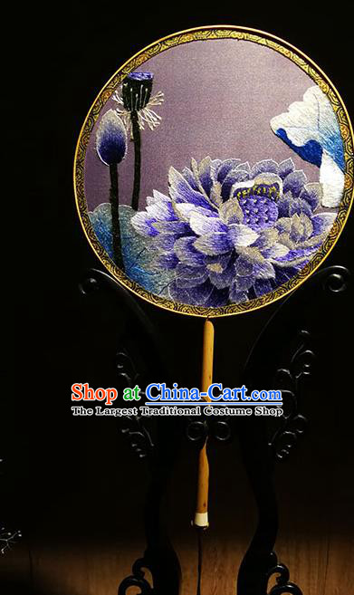 China Classical Dance Palace Fan Handmade Hanfu Silk Fans Traditional Embroidered Lotus Circular Fan