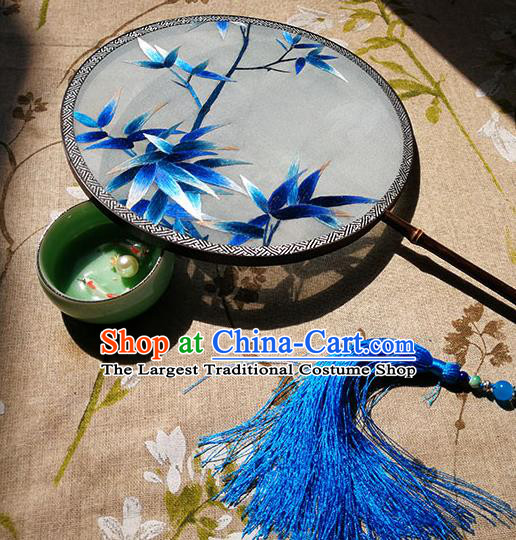 China Handmade Hanfu Fan Classical Dance Palace Fan Traditional Embroidered Bamboo Leaf Circular Fan
