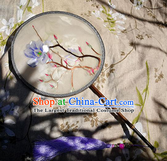 China Traditional Double Sides Embroidered Mangnolia Circular Fan Handmade White Silk Fan Classical Dance Palace Fan