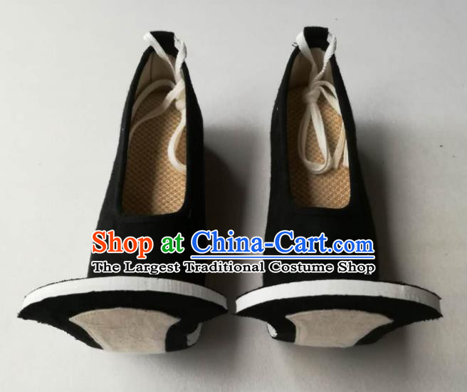 Chinese Handmade Classical Black Cloth Shoes Traditional Hanfu Shoes Han Dynasty Men Shoes