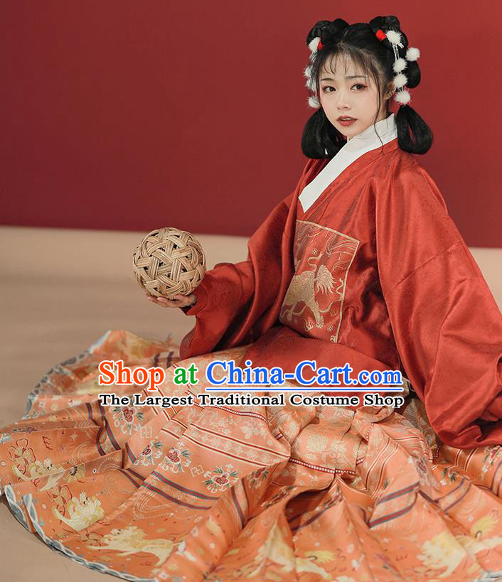 China Ming Dynasty Court Lady Hanfu Clothing Ancient Princess Historical Costumes Full Set