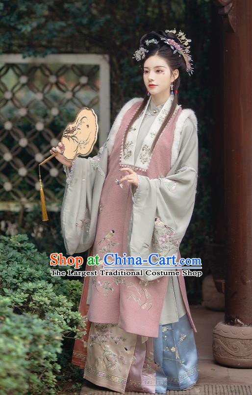 China Ancient Ming Dynasty Court Beauty Historical Clothing Traditional Embroidered Hanfu Garment Costumes