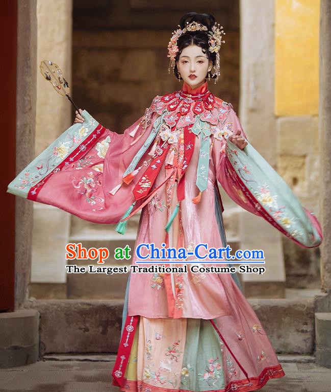 China Traditional Ming Dynasty Princess Embroidered Historical Costumes Ancient Royal Infanta Hanfu Clothing Complete Set