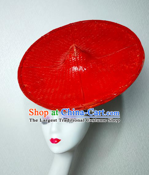 China Traditional Dai Nationality Folk Dance Red Bamboo Hat Yunnan Ethnic Minority Stage Show Headwear