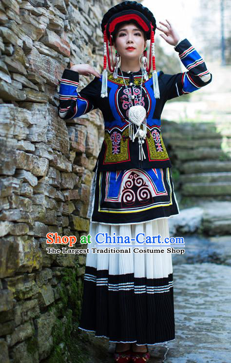 Chinese Ethnic Torch Festival Stage Performance Outfits Costumes Yi Nationality Folk Dance Dress Clothing and Hat